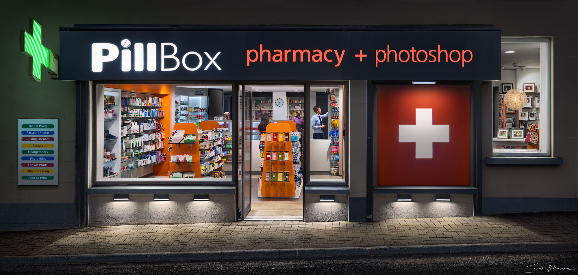 The Pillbox Pharmacy and Photoshop Portrait by Tony Moore Photographer